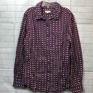 CASLON Purple Polka Dot Cotton Button Down Shirt